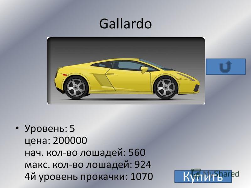 Murcielago Уровень: 6 цена: 350000 + 3 з.м. нач. кол-во лошадей: 640 макс. кол-во лошадей: 1004 4 й уровень прокачки: 1150 Купить