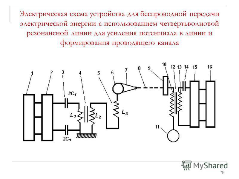 94 Электрическая схема устройства для беспроводной передачи электрической энергии с использованием четвертьволновой резонансной линии для усиления потенциала в линии и формирования проводящего канала