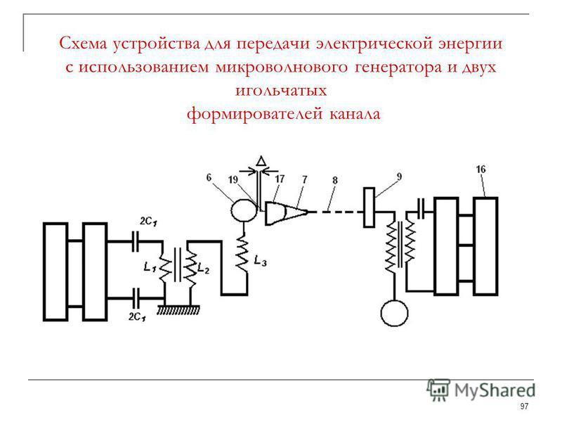 97 Схема устройства для передачи электрической энергии с использованием микроволнового генератора и двух игольчатых формирователей канала