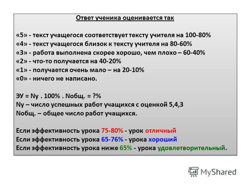 Ответ ученика оценивается так «5» - текст учащегося соответствует тексту учителя на 100-80% «4» - текст учащегося близок к тексту учителя на 80-60% «3» - работа выполнена скорее хорошо, чем плохо – 60-40% «2» - что-то получается на 40-20% «1» - получ