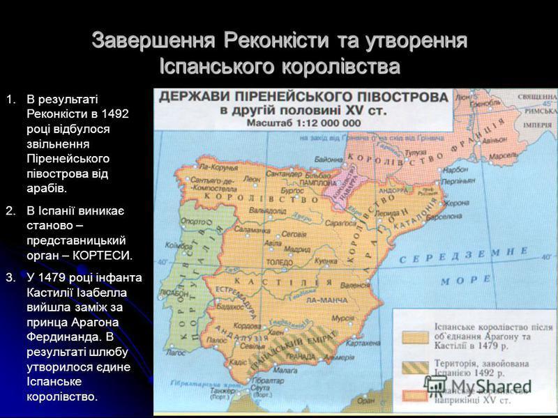 Завершення Реконкісти та утворення Іспанського королівства 1.В результаті Реконкісти в 1492 році відбулося звільнення Піренейського півострова від арабів. 2.В Іспанії виникає станово – представницький орган – КОРТЕСИ. 3.У 1479 році інфанта Кастилії І