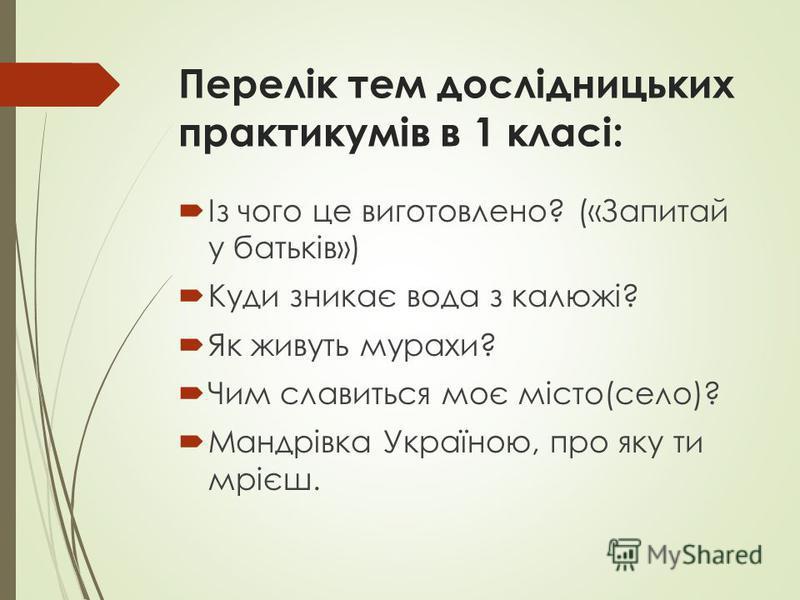Перелік тем дослідницьких практикумів в 1 класі: Із чого це виготовлено? («Запитай у батьків») Куди зникає вода з калюжі? Як живуть мурахи? Чим славиться моє місто(село)? Мандрівка Україною, про яку ти мрієш.