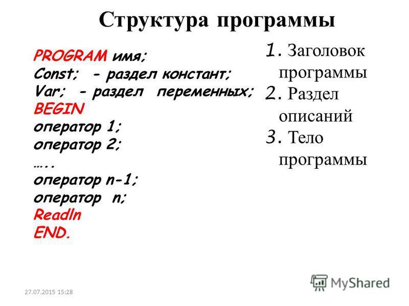 Структура программы PROGRAM имя; Const; - раздел констант; Var; - раздел переменных; BEGIN оператор 1; оператор 2; ….. оператор n-1; оператор n; Readln END. 27.07.2015 15:30 1. Заголовок программы 2. Раздел описаний 3. Тело программы