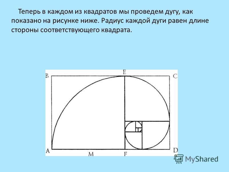 Теперь в каждом из квадратов мы проведем дугу, как показано на рисунке ниже. Радиус каждой дуги равен длине стороны соответствующего квадрата.
