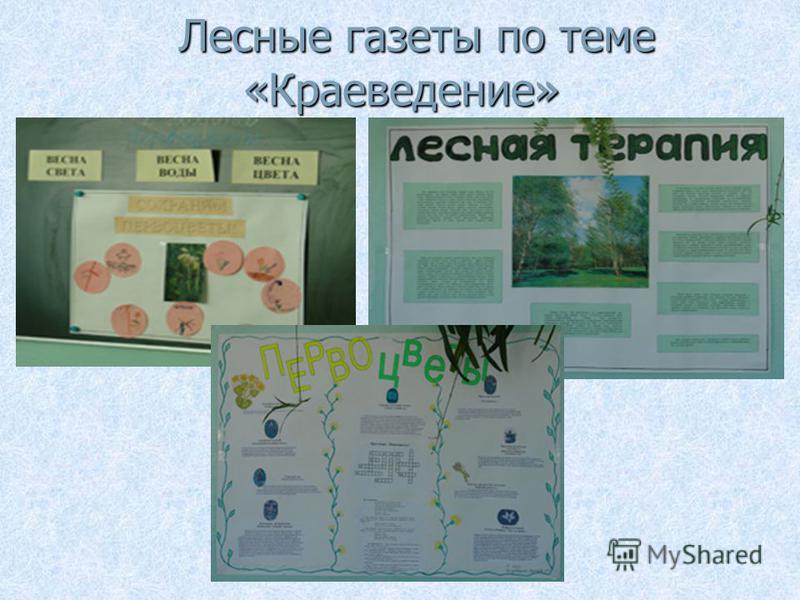 Лесные газеты по теме «Краеведение» Лесные газеты по теме «Краеведение»