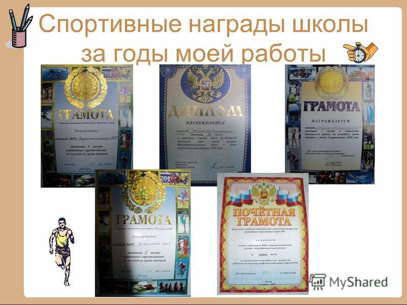 Спортивные награды школы за годы моей работы