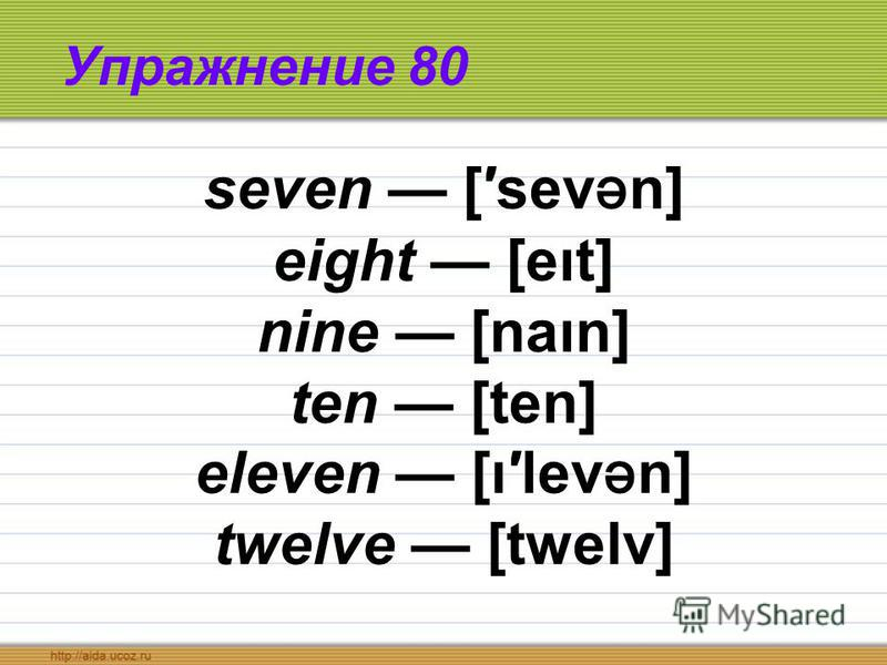 Упражнение 80 seven [sev ə n] eight [eıt] nine [naın] ten [ten] eleven [ılev ə n] twelve [twelv]
