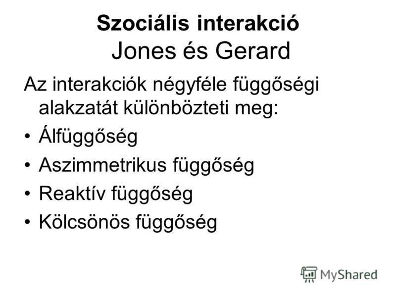 Szociális interakció Jones és Gerard Az interakciók négyféle függőségi alakzatát különbözteti meg: Álfüggőség Aszimmetrikus függőség Reaktív függőség Kölcsönös függőség