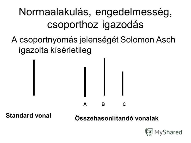 Normaalakulás, engedelmesség, csoporthoz igazodás A csoportnyomás jelenségét Solomon Asch igazolta kísérletileg Standard vonal Összehasonlítandó vonalak ABC