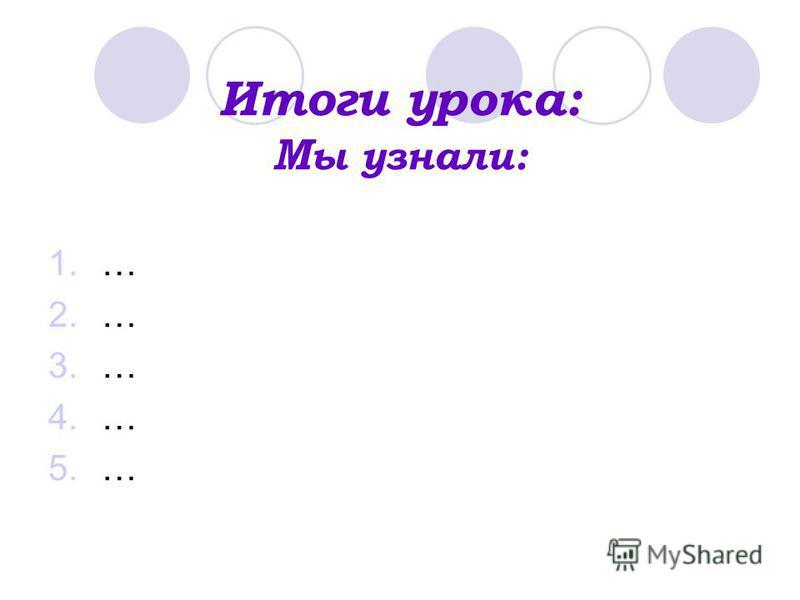 Итоги урока: М ы узнали: 1.… 2.… 3.… 4.… 5.…