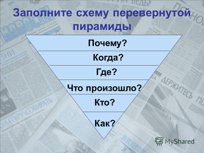 Заполните схему перевернутой пирамиды Почему? Когда? Где? Что произошло? Кто? Как?