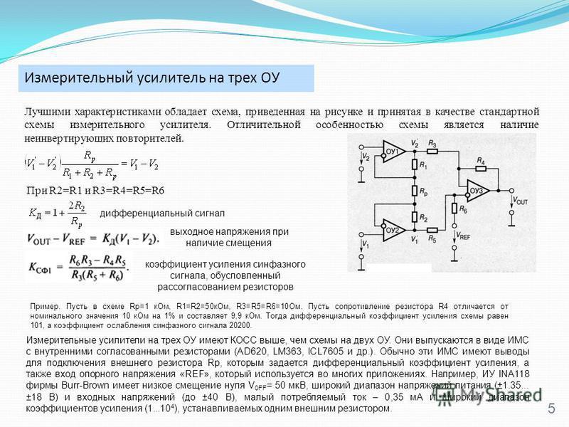 Измерительный усилитель на трех ОУ 5 Лучшими характеристиками обладает схема, приведенная на рисунке и принятая в качестве стандартной схемы измерительного усилителя. Отличительной особенностью схемы является наличие неинвертирующих повторителей. При