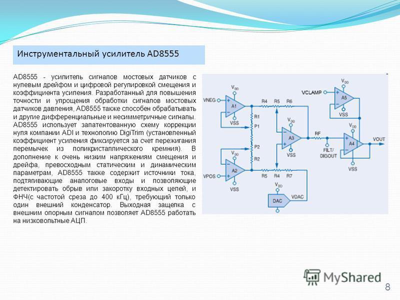 Инструментальный усилитель AD8555 8 AD8555 - усилитель сигналов мостовых датчиков с нулевым дрейфом и цифровой регулировкой смещения и коэффициента усиления. Разработанный для повышения точности и упрощения обработки сигналов мостовых датчиков давлен