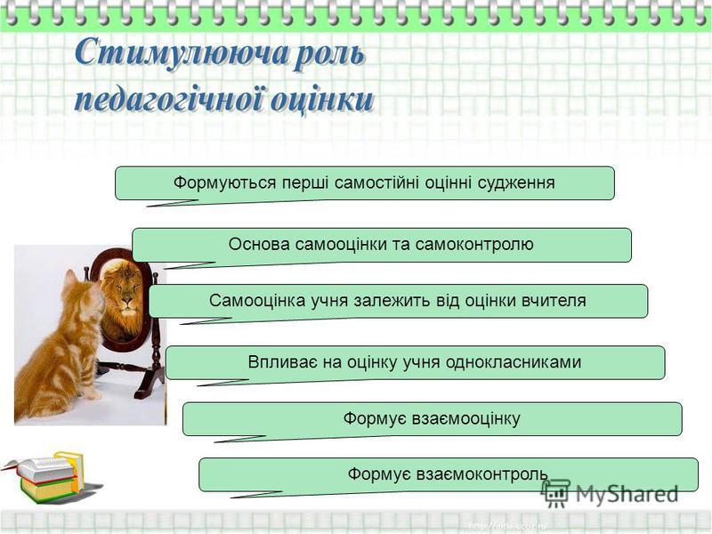 Формуються перші самостійні оцінні судження Формує взаємооцінку Формує взаємоконтроль Основа самооцінки та самоконтролю Самооцінка учня залежить від оцінки вчителя Впливає на оцінку учня однокласниками