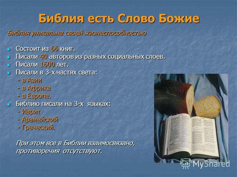 Библия есть Слово Божие Библия уникальна своей жизнеспособностью Состоит из 66 книг. Состоит из 66 книг. Писали 40 авторов из разных социальных слоев. Писали 40 авторов из разных социальных слоев. Писали 1600 лет. Писали 1600 лет. Писали в 3-х частях