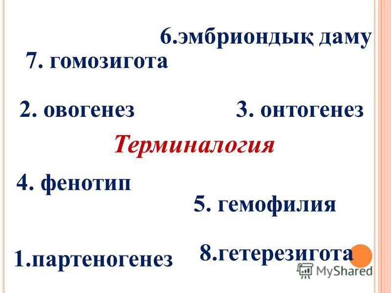 8.гетерезигота Терминалогия 1.партеногенез 2. овогенез3. онтогенез 4. фенотип 5. гемофилия 6.эмбриондық даму 7. гомозигота