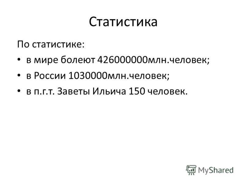 Статистика По статистике: в мире болеют 426000000 млн.человек; в России 1030000 млн.человек; в п.г.т. Заветы Ильича 150 человек.