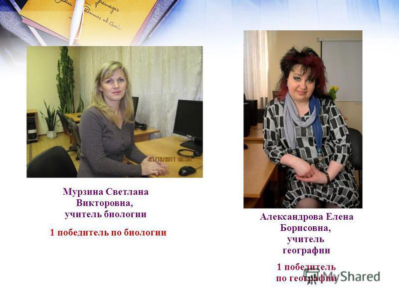 Мурзина Светлана Викторовна, учитель биологии 1 победитель по биологии Александрова Елена Борисовна, учитель географии 1 победитель по географии