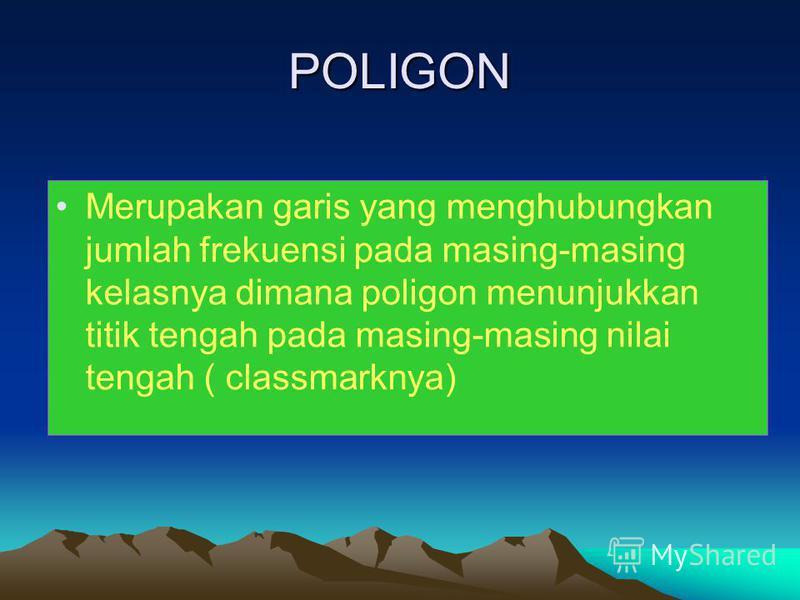 POLIGON Merupakan garis yang menghubungkan jumlah frekuensi pada masing-masing kelasnya dimana poligon menunjukkan titik tengah pada masing-masing nilai tengah ( classmarknya)