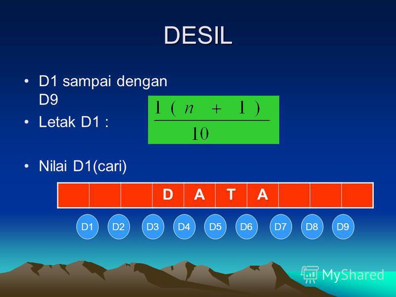 DESIL D1 sampai dengan D9 Letak D1 : Nilai D1(cari) DATA D1D2D3D4D5D6D7D8D9
