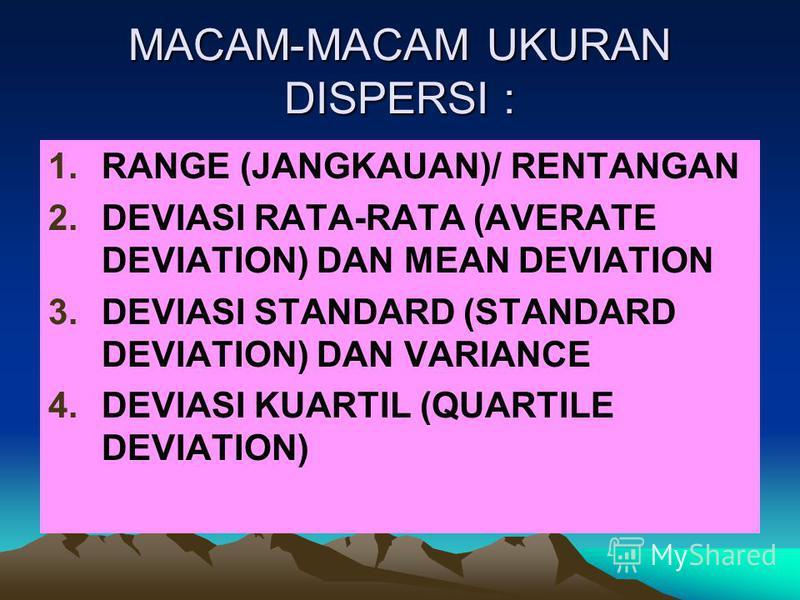 MACAM-MACAM UKURAN DISPERSI : 1.RANGE (JANGKAUAN)/ RENTANGAN 2.DEVIASI RATA-RATA (AVERATE DEVIATION) DAN MEAN DEVIATION 3.DEVIASI STANDARD (STANDARD DEVIATION) DAN VARIANCE 4.DEVIASI KUARTIL (QUARTILE DEVIATION)