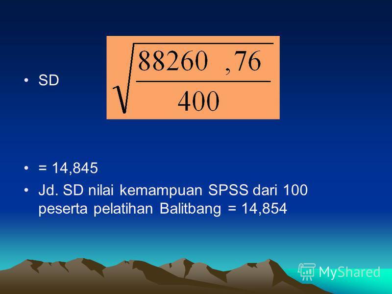 SD = 14,845 Jd. SD nilai kemampuan SPSS dari 100 peserta pelatihan Balitbang = 14,854