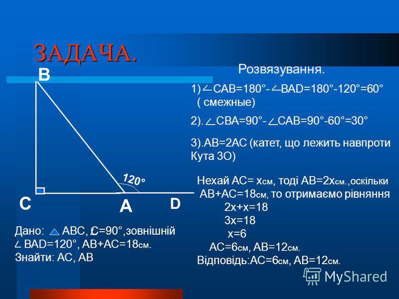 ЗАДАЧА. 1) САВ=180°- ВАD=180°-120°=60° ( смежные) 2). СВА=90°- САВ=90°-60°=30° 3).АВ=2АС (катет, що лежить навпроти Кута 3О) Нехай АС= х см, тоді АВ=2х см.,оскільки АВ+АС=18 см, то отримаємо рівняння 2х+х=18 3х=18 х=6 АС=6 см, АВ=12 см. Відповідь:АС=