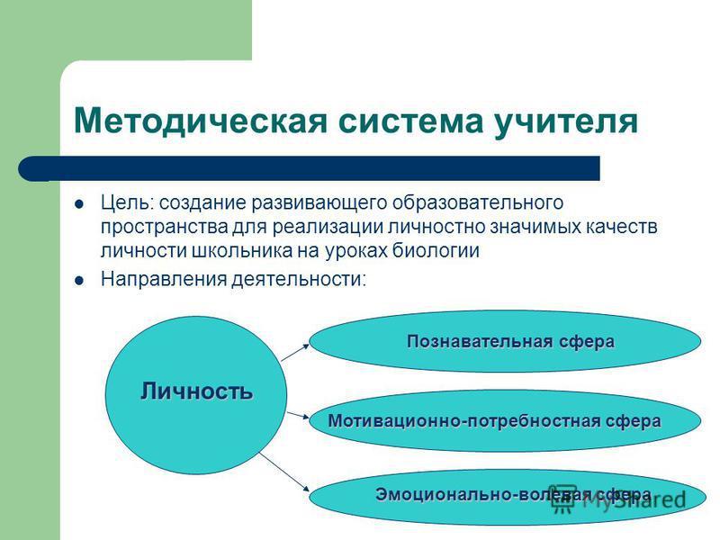 Методическая система учителя Цель: создание развивающего образовательного пространства для реализации личностно значимых качеств личности школьника на уроках биологии Направления деятельности: Личность Познавательная сфера Мотивационно-потребностная