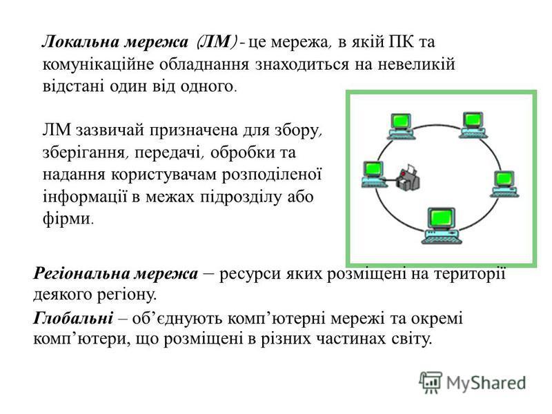 Локальна мережа ( ЛМ )- це мережа, в якій ПК та комунікаційне обладнання знаходиться на невеликій відстані один від одного. ЛМ зазвичай призначена для збору, зберігання, передачі, обробки та надання користувачам розподіленої інформації в межах підроз