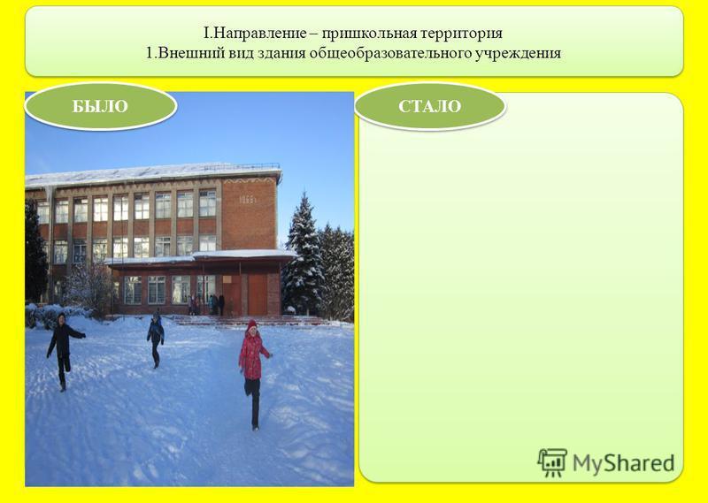 I.Направление – пришкольная территория 1. Внешний вид здания общеобразовательного учреждения СТАЛО БЫЛО