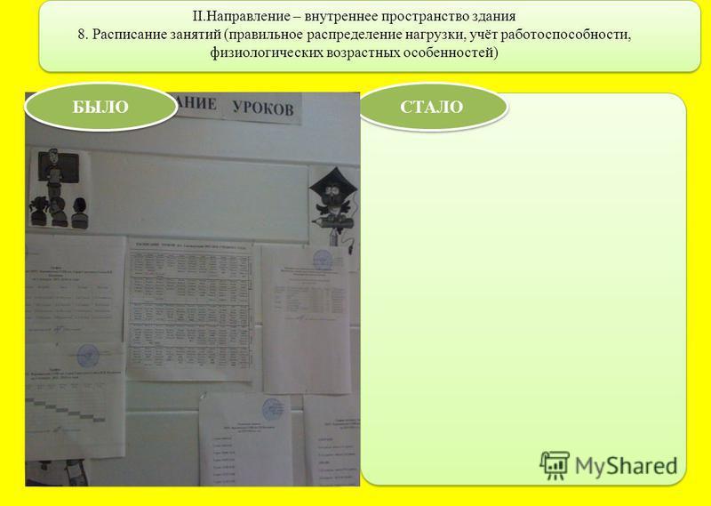 II.Направление – внутреннее пространство здания 8. Расписание занятий (правильное распределение нагрузки, учёт работоспособности, физиологических возрастных особенностей) СТАЛО БЫЛО