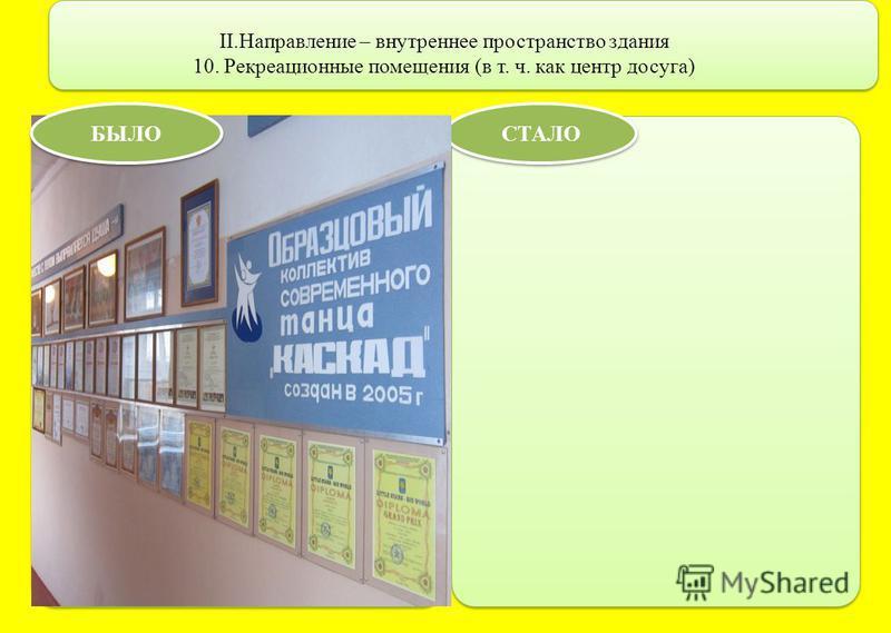 II.Направление – внутреннее пространство здания 10. Рекреационные помещения (в т. ч. как центр досуга) СТАЛО БЫЛО