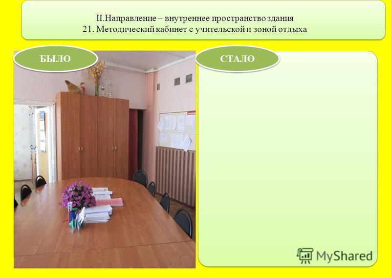 II.Направление – внутреннее пространство здания 21. Методический кабинет с учительской и зоной отдыха СТАЛО БЫЛО