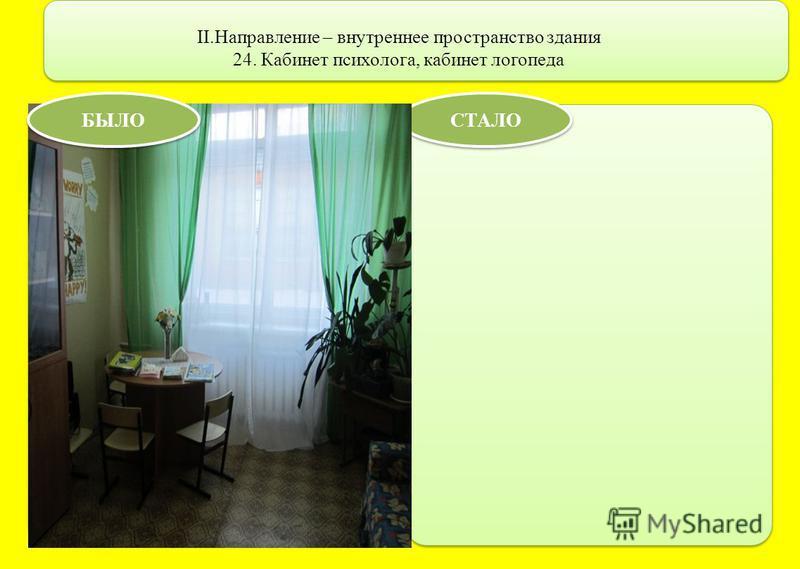 II.Направление – внутреннее пространство здания 24. Кабинет психолога, кабинет логопеда СТАЛО БЫЛО