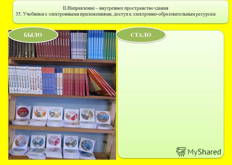 II.Направление – внутреннее пространство здания 35. Учебники с электронными приложениями, доступ к электронно-образовательным ресурсам СТАЛО БЫЛО