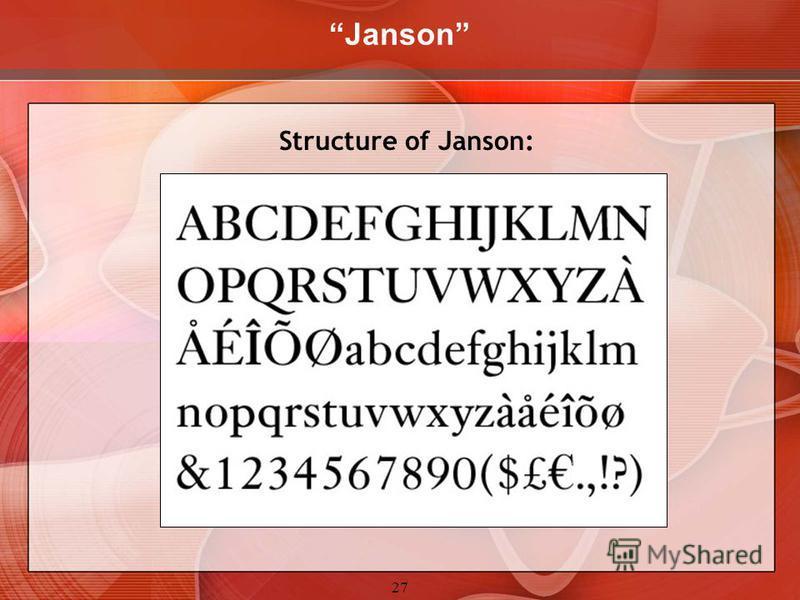 27 Janson Structure of Janson:
