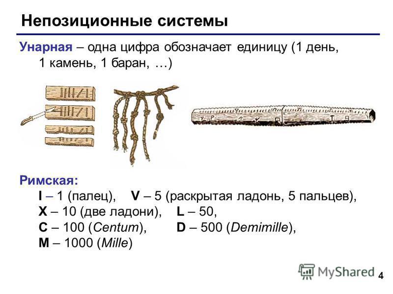 4 Непозиционные системы Унарная – одна цифра обозначает единицу (1 день, 1 камень, 1 баран, …) Римская: I – 1 (палец), V – 5 (раскрытая ладонь, 5 пальцев), X – 10 (две ладони), L – 50, C – 100 (Centum), D – 500 (Demimille), M – 1000 (Mille)