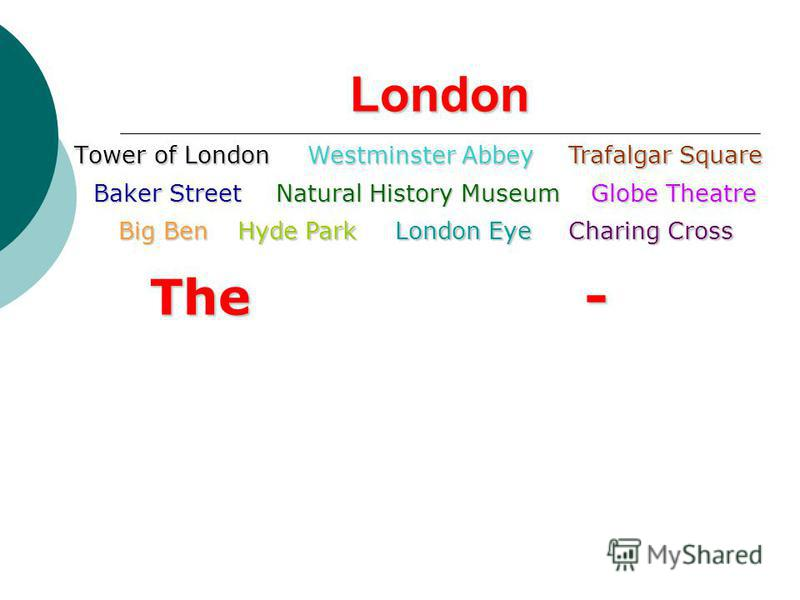 London Tower of LondonWestminster AbbeyTrafalgar Square Baker StreetNatural History Museum Big Ben Globe Theatre Hyde ParkLondon EyeCharing Cross The-