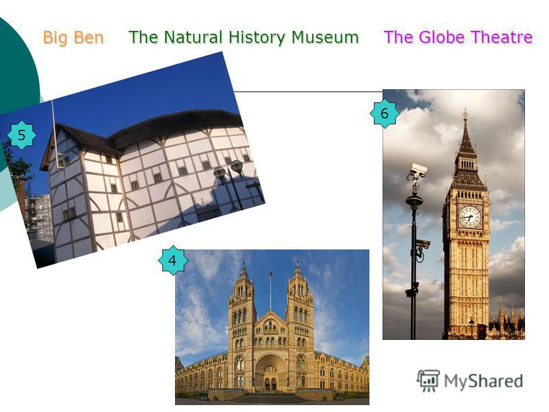 The Natural History MuseumBig BenThe Globe Theatre 5 6 4