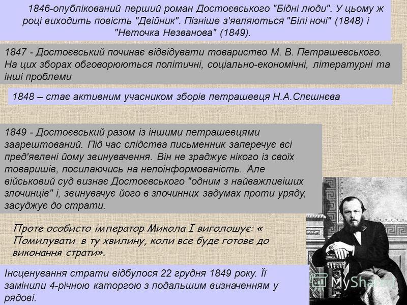 1846-опублікований перший роман Достоєвського