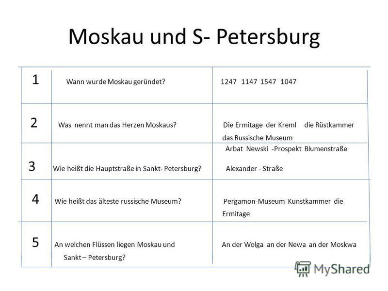 Moskau und S- Petersburg 1 Wann wurde Moskau geründet? 1247 1147 1547 1047 2 Was nennt man das Herzen Moskaus? Die Ermitage der Kreml die Rüstkammer das Russische Museum Arbat Newski -Prospekt Blumenstraße 3 Wie heißt die Hauptstraße in Sankt- Peters
