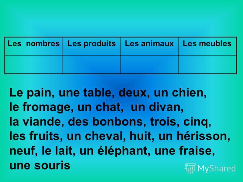 Les nombresLes produitsLes animauxLes meubles Le pain, une table, deux, un chien, le fromage, un chat, un divan, la viande, des bonbons, trois, cinq, les fruits, un cheval, huit, un hérisson, neuf, le lait, un éléphant, une fraise, une souris