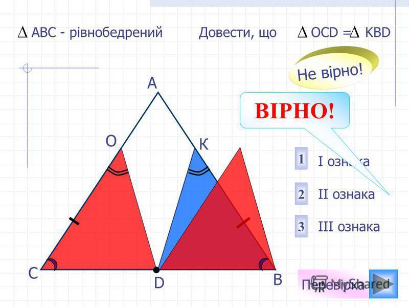 Перевірка D В С А О К Довести, що OCD = KBD I ознака II ознака III ознака 1 2 3 Не вірно! АВС - рівнобедрений ВІРНО!