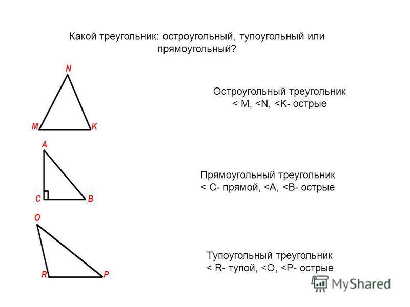 Какой треугольник: остроугольный, тупоугольный или прямоугольный? Остроугольный треугольник < M, <N, <K- острые Тупоугольный треугольник < R- тупой, <O, <P- острые Прямоугольный треугольник < C- прямой, <A, <B- острые