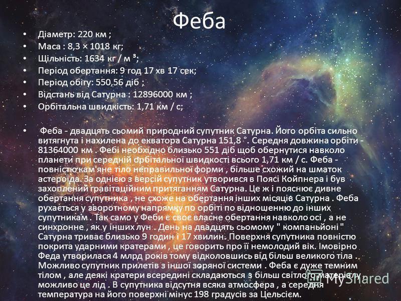 Феба Діаметр: 220 км ; Маса : 8,3 × 1018 кг; Щільність: 1634 кг / м ³; Період обертання: 9 год 17 хв 17 сек; Період обігу: 550,56 діб ; Відстань від Сатурна : 12896000 км ; Орбітальна швидкість: 1,71 км / с; Феба - двадцять сьомий природний супутник