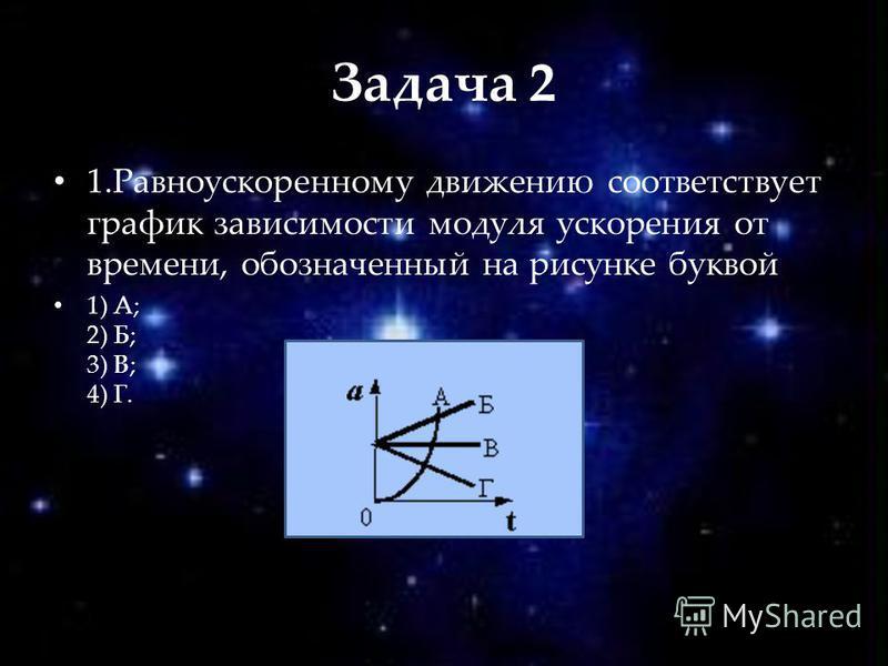 Задача 2 1. Равноускоренному движению соответствует график зависимости модуля ускорения от времени, обозначенный на рисунке буквой 1) А; 2) Б; 3) В; 4) Г.