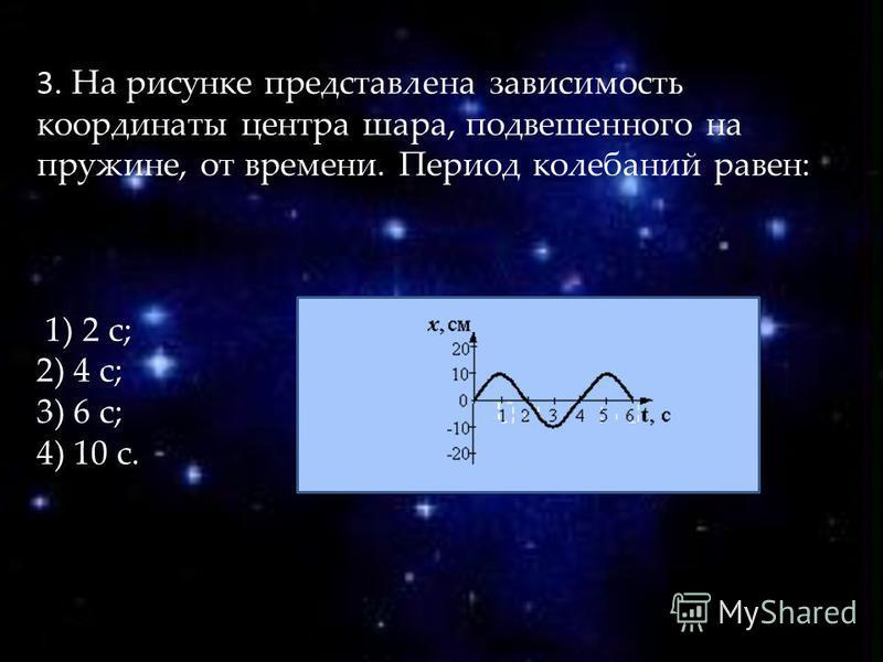 3. На рисунке представлена зависимость координаты центра шара, подвешенного на пружине, от времени. Период колебаний равен: 1) 2 с; 2) 4 с; 3) 6 с; 4) 10 с.