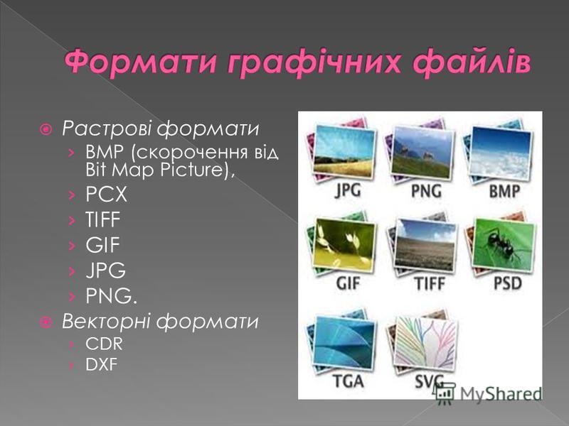 Растровi формати BMP (скорочення вiд Bit Map Picture), PCX TIFF GIF JPG PNG. Векторнi формати CDR DXF