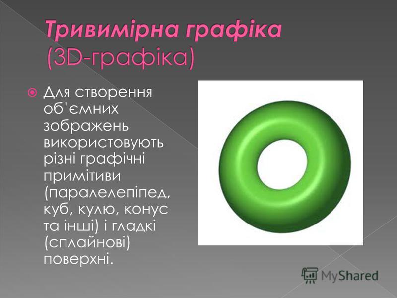 Для створення обємних зображень використовують рiзнi графiчнi примiтиви (паралелепiпед, куб, кулю, конус та iншi) i гладкi (сплайновi) поверхнi.