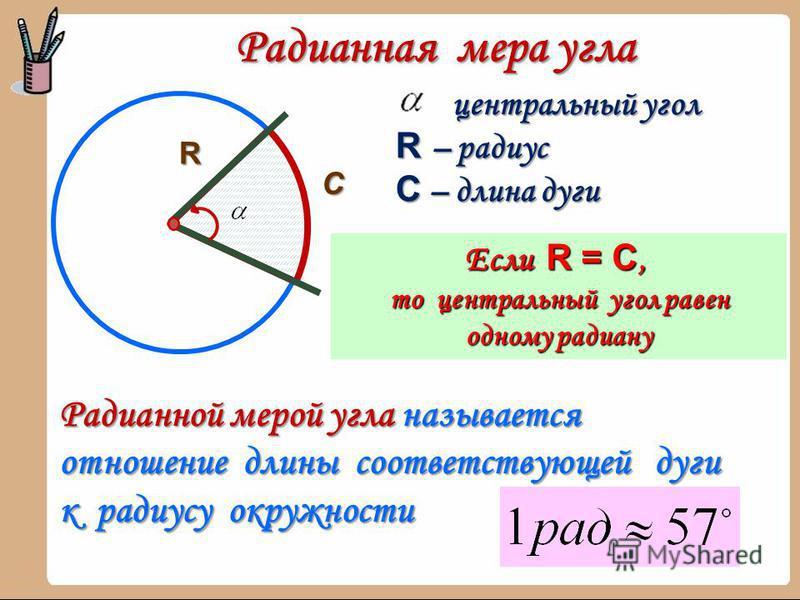 Радианная мера угла R С центральный угол R – радиус С – длина дуги Если R = C, то центральный угол равен одному радиану Радианной мерой угла называется отношение длины соответствующей дуги к радиусу окружности